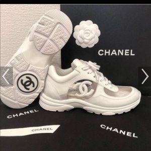White Chanel PVC Sneakers